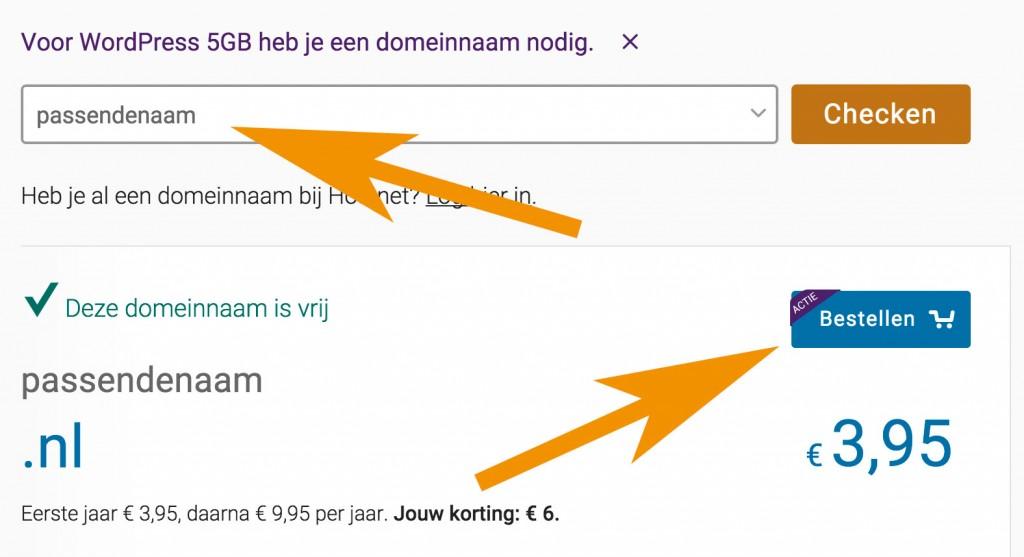 Hostnet domeinnaam aanvragen hosting