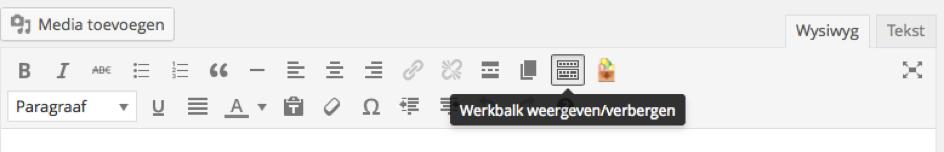 WordPress werkbalk