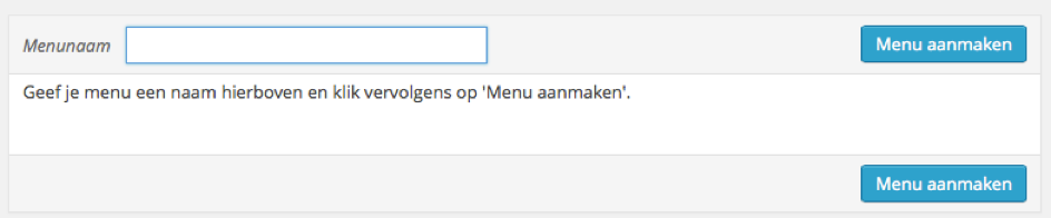 Menu items aanmaken