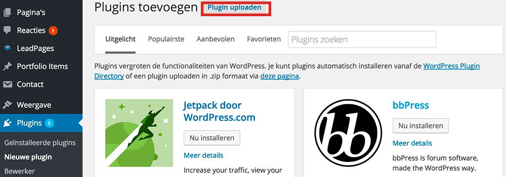 Plugin uploaden dashboard