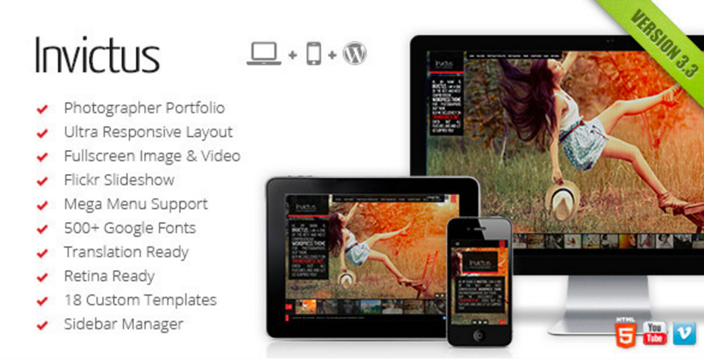 Invictus A Fullscreen Photography WordPress Theme