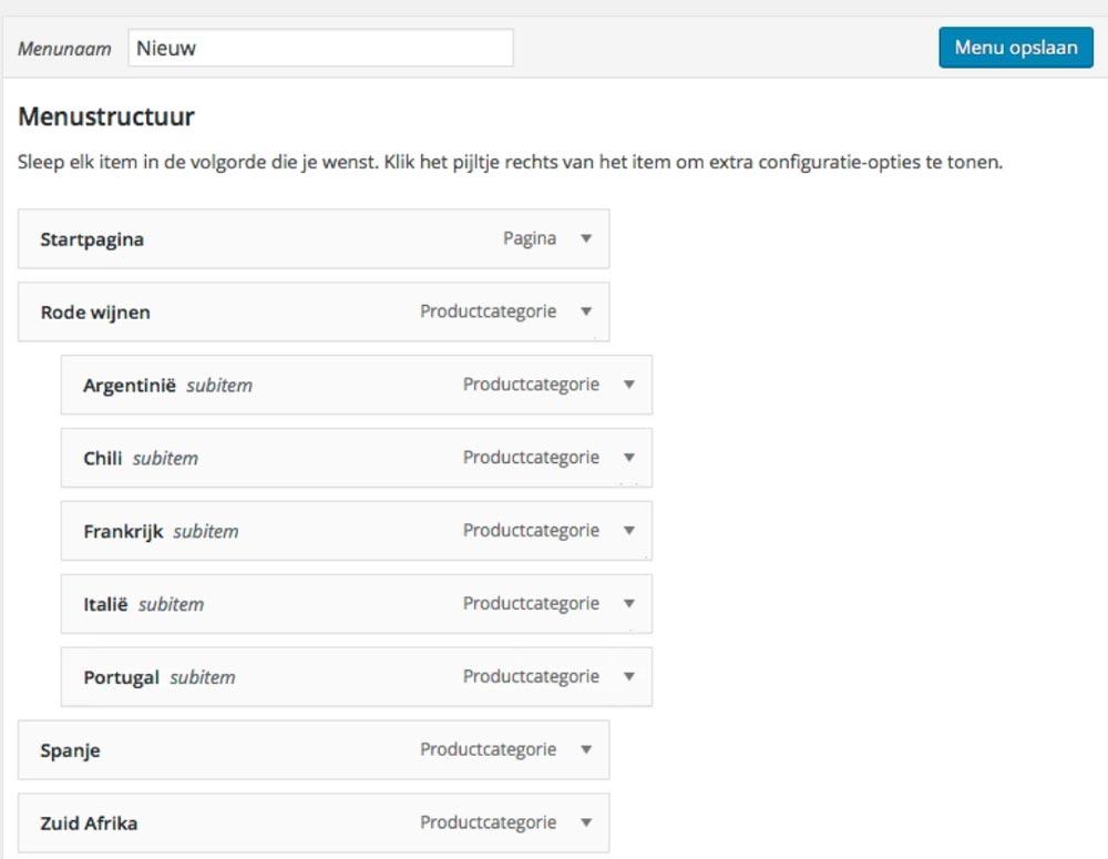 WooCommerce menubalk met categorieen