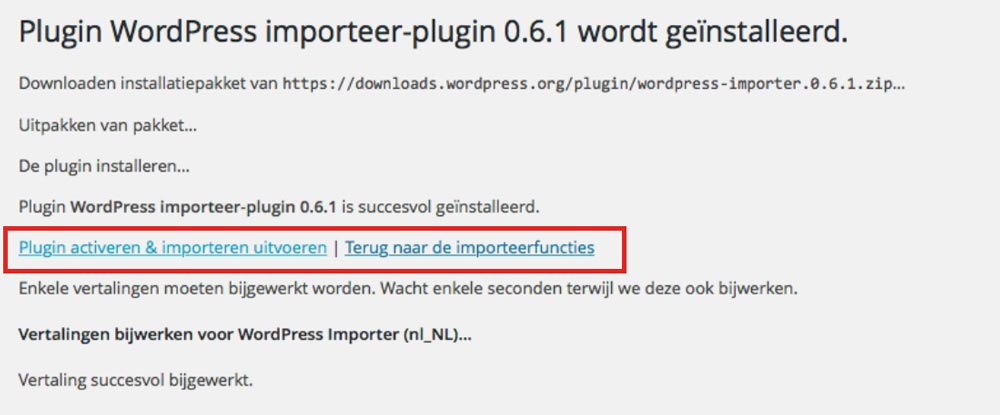 WordPress importeer plugin gebruiken