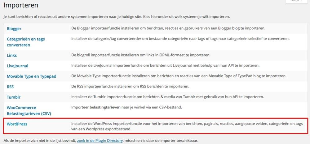 WordPress importeren plugin