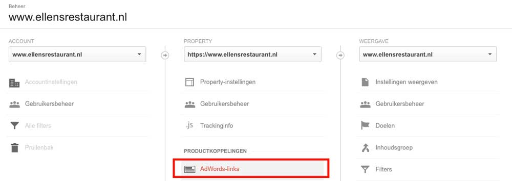 Adwords koppelen aan Analytics