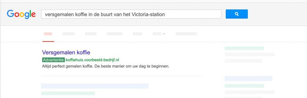 Google Adwords kortingscode advertentie