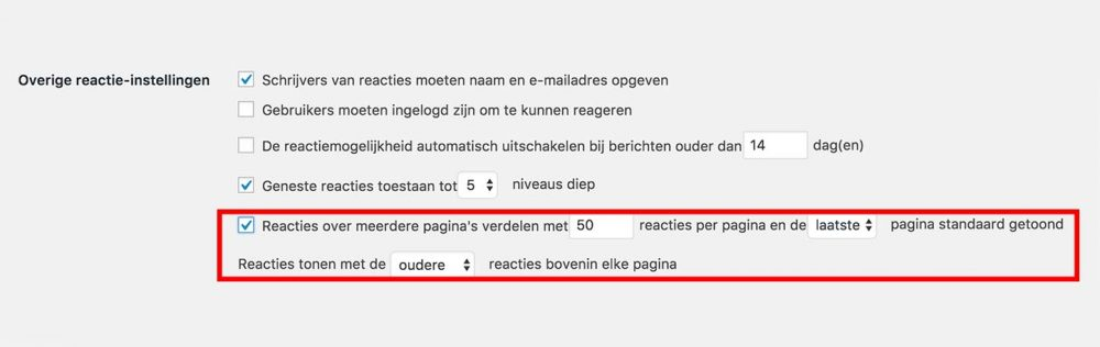 Reacties wordpress verdelen over paginas