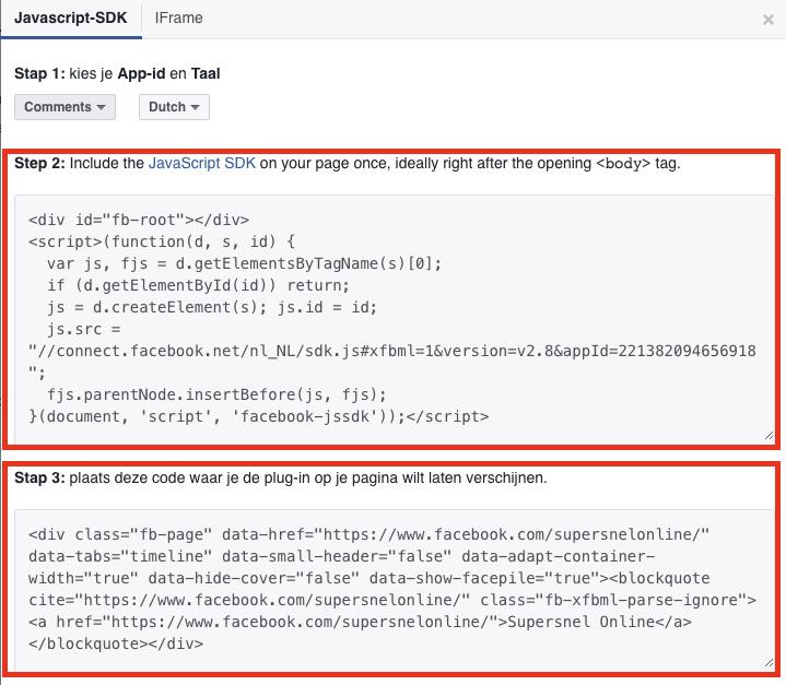 Stap-1 en stap-2 code toevoegen facebook
