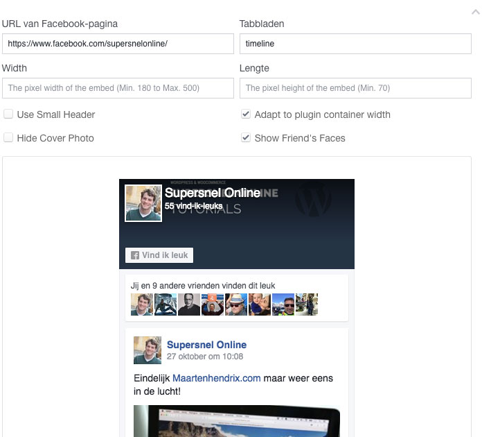 Supersnel online Facebook pagina plugin